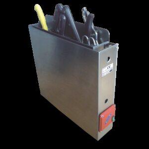 Esterilizador de cuchillos mediante agua caliente para adosar 580x110x580 mm.