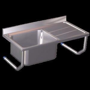 Fregadero colg.c/palomillas 1C,ED 800x500x450 mm. Dimensiones cubeta 340x370x150 mm.