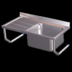 Fregadero colg.c/palomillas 1C,EI 800x500x450 mm. Dimensiones cubeta 340x370x150 mm.