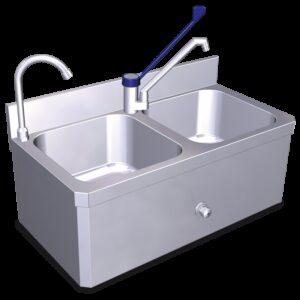 Conjunto de fregadero-lavamanos 2C 800x400x300 mm.