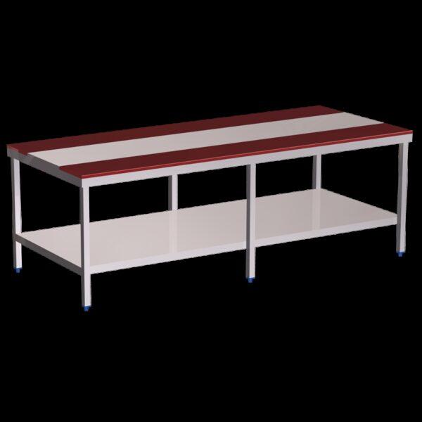Mesa despiece fb.roja c/entrep.3000x1300x850 mm.