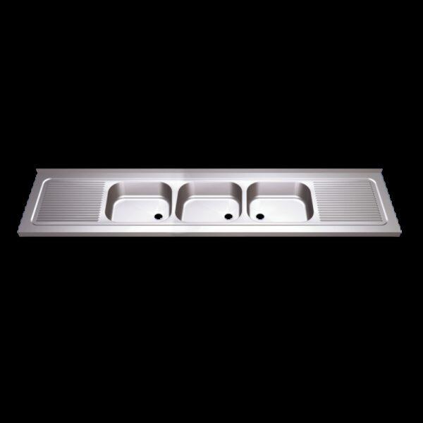 Fregadero 1800x700 3 cubetas y 2 escurridores dimensiones cubeta 500x400x300 mm.