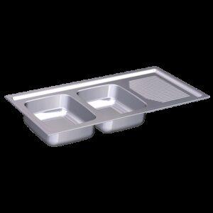 Fregadero para encastrar 1160x500 dos cubetas y escurridor dcha. Dimensiones cubetas: 330x360x160 mm.