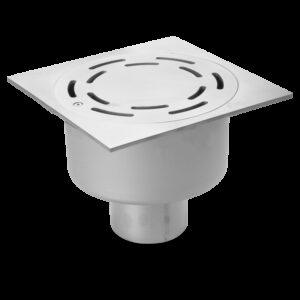 Sumidero sifónico en acero inoxidable 150x150x98,5 mm. Salida vertical.